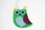 Glass Owl  Green for Hanging